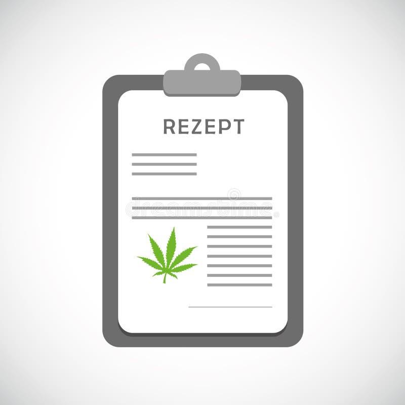 Medisch geneeskrachtig de cannabissymbool van het marihuanarecept stock illustratie