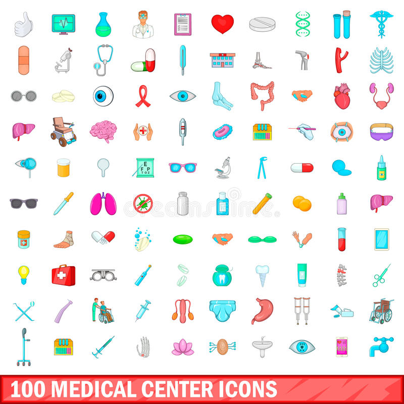 100 medisch geplaatste centrumpictogrammen, beeldverhaalstijl stock illustratie