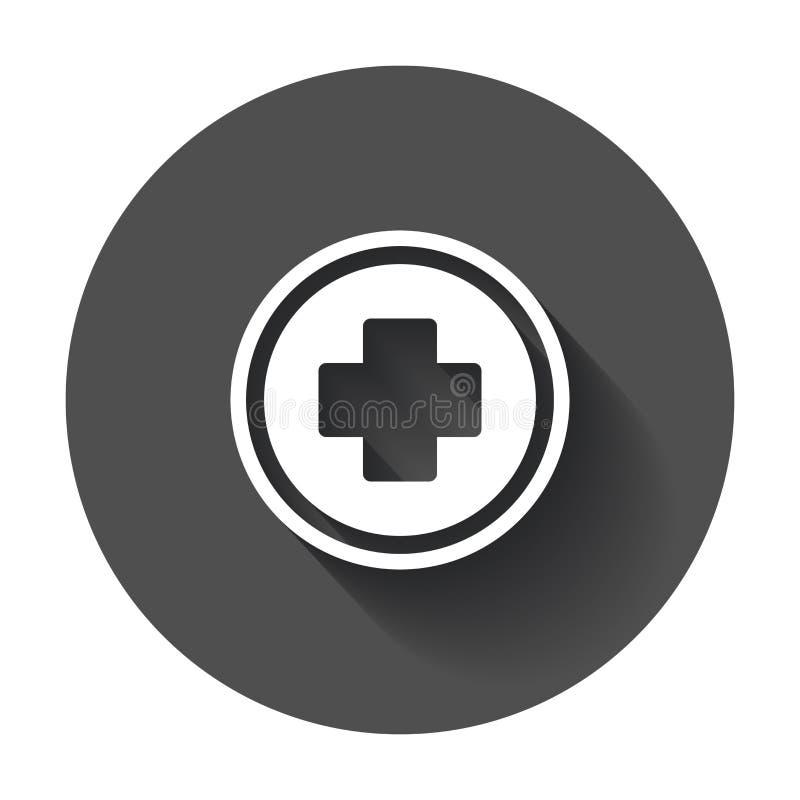 Medisch gezondheids vectorpictogram Het plustekenillustra van het geneeskundeziekenhuis stock illustratie