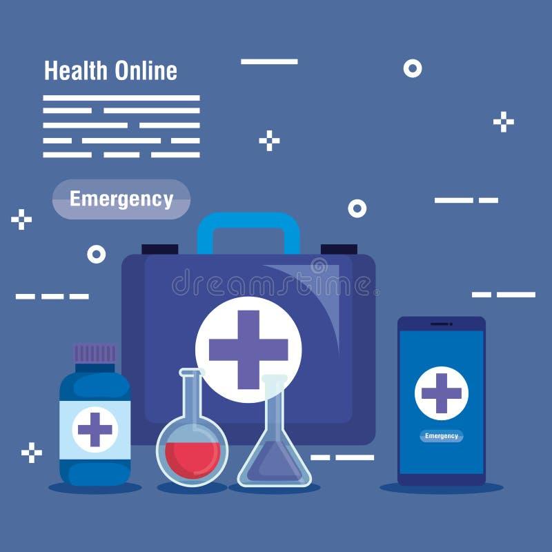 Medisch gezondheidsmateriaal aan online overleg royalty-vrije illustratie
