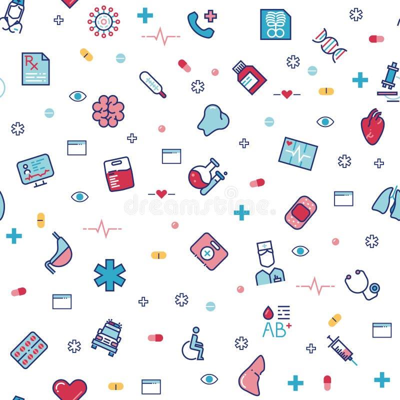 Medisch gezondheidszorg vector naadloos patroon met de pictogrammen van de lijngeneeskunde vector illustratie