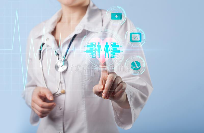 Medisch Gezondheidszorgconcept - symbool van medi van de geneeskundeinnovatie stock afbeeldingen