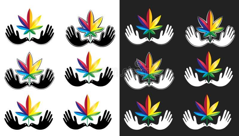 Medisch het bladpictogram van de cannabismarihuana met vreedzaam duifsymbool royalty-vrije illustratie