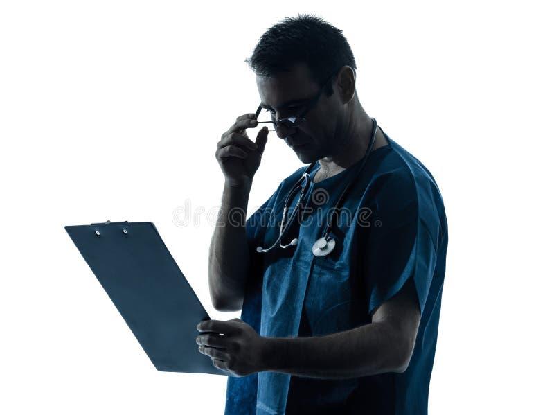 Medisch het examensilhouet van de artsenmens stock fotografie