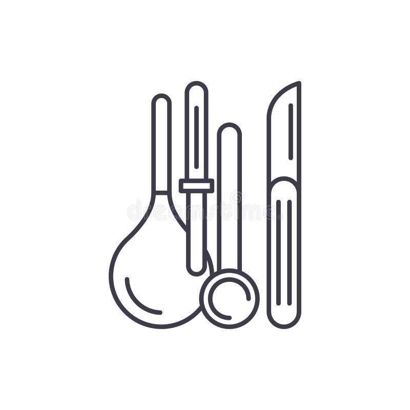Medisch het pictogramconcept van de instrumentenlijn Medische instrumenten vector lineaire illustratie, symbool, teken royalty-vrije illustratie