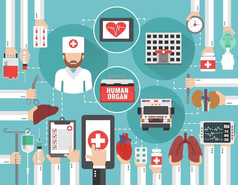 Medisch infographic concept vlak met auto menselijke orgaan, het ziekenhuis en arts, online vraag vector illustratie