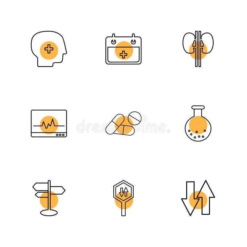 Medisch, kalender, nieren, ecg, geneeskunde, beker, richtingen, raad, omhoog neer, eps pictogrammen geplaatst vector stock illustratie