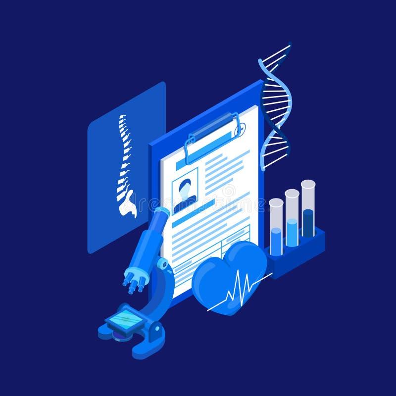 Medisch kenmerkend concept Laboratoriumonderzoek, DNA, röntgenfoto en bloedonderzoek Vector 3d isometrische illustratie vector illustratie