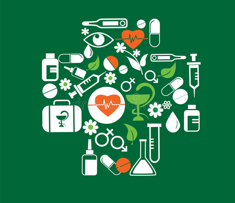 Medisch kruis met de reeks van het gezondheidspictogram royalty-vrije illustratie