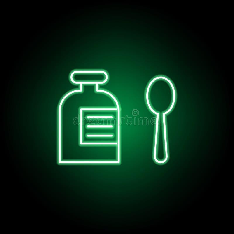 Medisch lepelpictogram in neonstijl Element van geneeskundeillustratie Tekens en symbolen het pictogram kan voor Web, embleem, mo vector illustratie