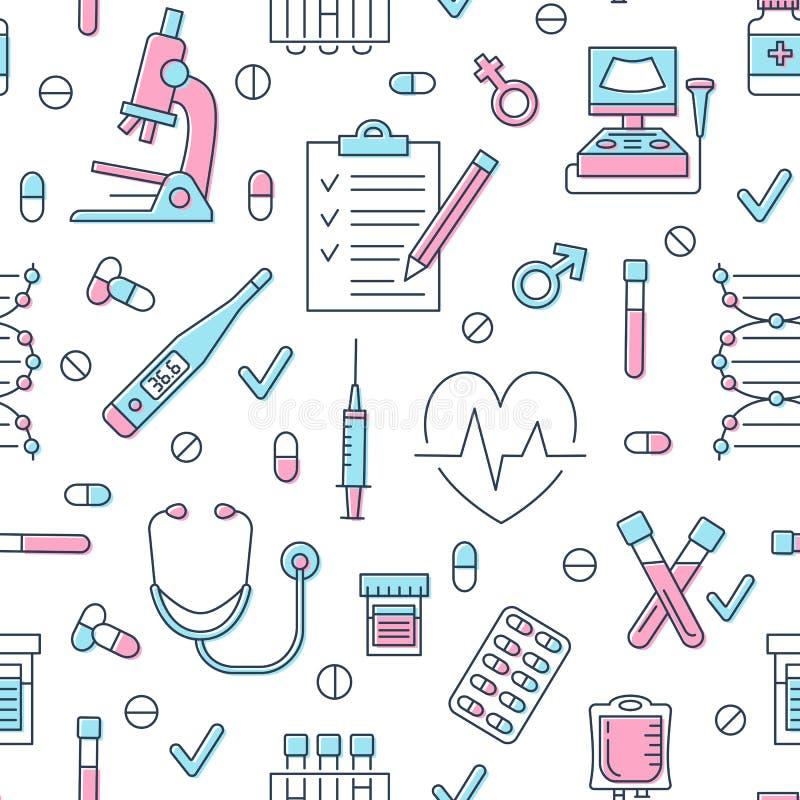 Medisch naadloos patroon, kliniek vectorillustratie Pictogrammen van de het ziekenhuis de dunne lijn - de thermometer, controleer stock illustratie