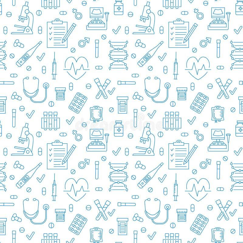 Medisch naadloos patroon, kliniek vectorillustratie Pictogrammen van de het ziekenhuis de dunne lijn - de thermometer, controleer royalty-vrije illustratie