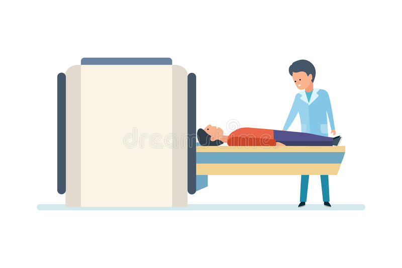 Medisch Onderzoek Het Aftasten van artsenpreparing patient for MRI in het Ziekenhuis royalty-vrije illustratie