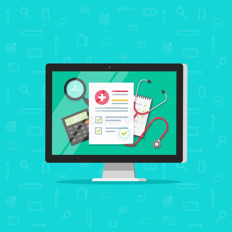 Medisch online onderzoekrapport over gezondheid van het computer de vector, vlakke beeldverhaal of medisch dossierdocument, verze royalty-vrije illustratie