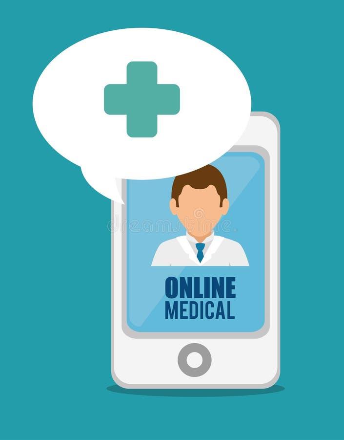Medisch online smartphone artsenkruis stock illustratie