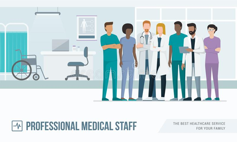 Medisch personeel bij het ziekenhuis royalty-vrije illustratie