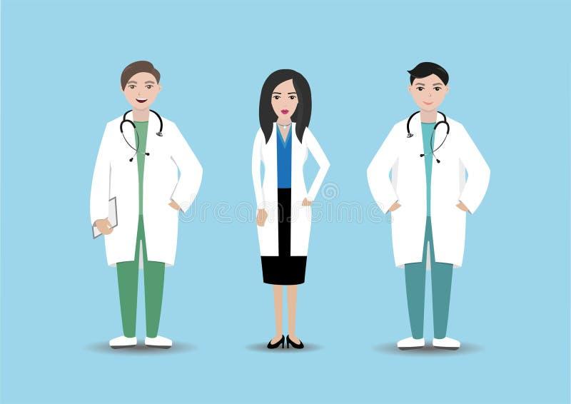 Medisch personeel in het ziekenhuis Geïsoleerde artsen met omslag en stethoscoop op blauwe achtergrond Kliniekpersoneel royalty-vrije stock afbeeldingen
