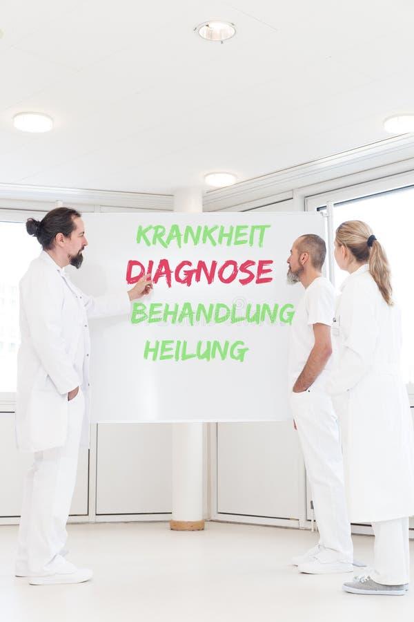 Medisch personeel voor een whiteboard met Duitse woorden stock afbeelding