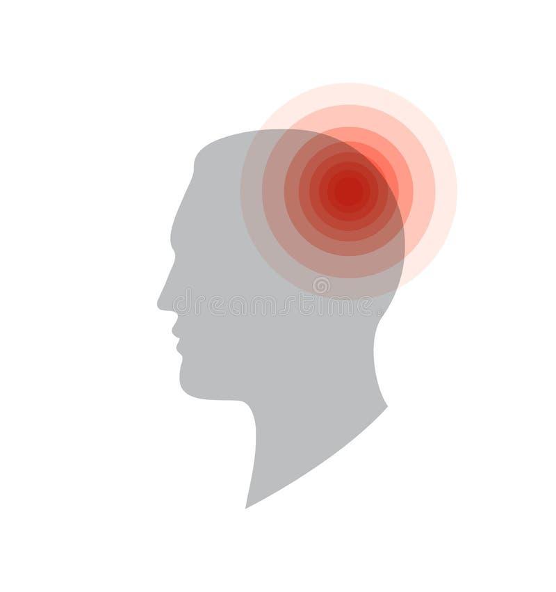 Medisch pictogram Hoofdpijn, pijn in het hoofd, migraine, moeheid Het vlakke eenvoudige malplaatje van de informatieaffiche Medis vector illustratie
