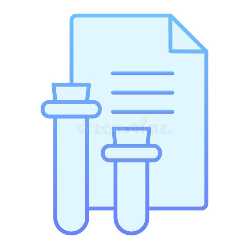 Medisch rapport vlak pictogram De blauwe pictogrammen van het bloedonderzoekresultaat in in vlakke stijl Fles en document het ont stock illustratie