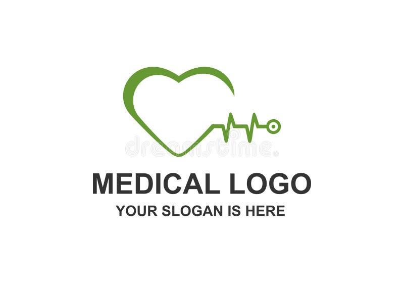 Medisch, Stethoscoop, Hartimpuls Logo Vector vector illustratie