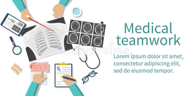Medisch team artsendesktop vector illustratie