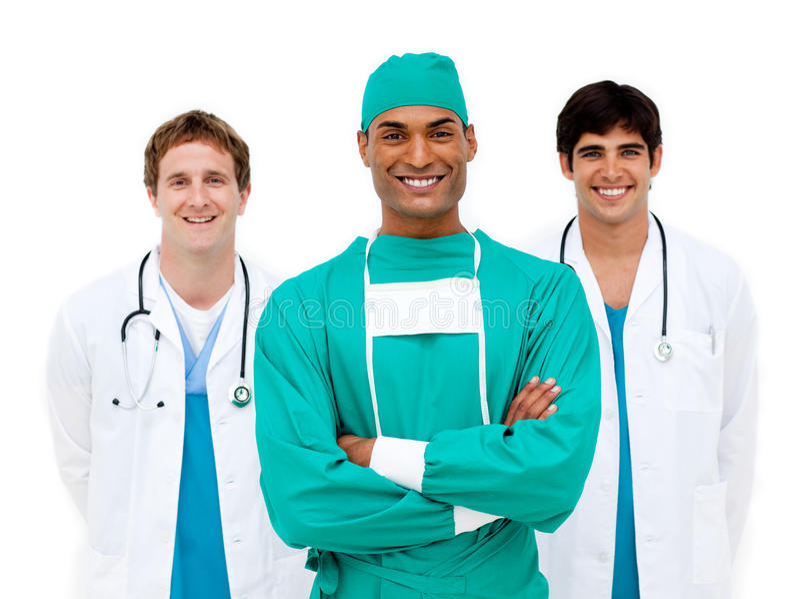 Medisch team dat bij de camera glimlacht royalty-vrije stock foto