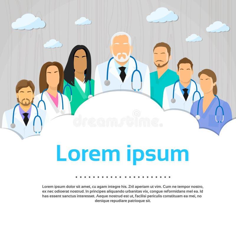 Medisch Team Doctor Group Flat Profile-Pictogram stock illustratie