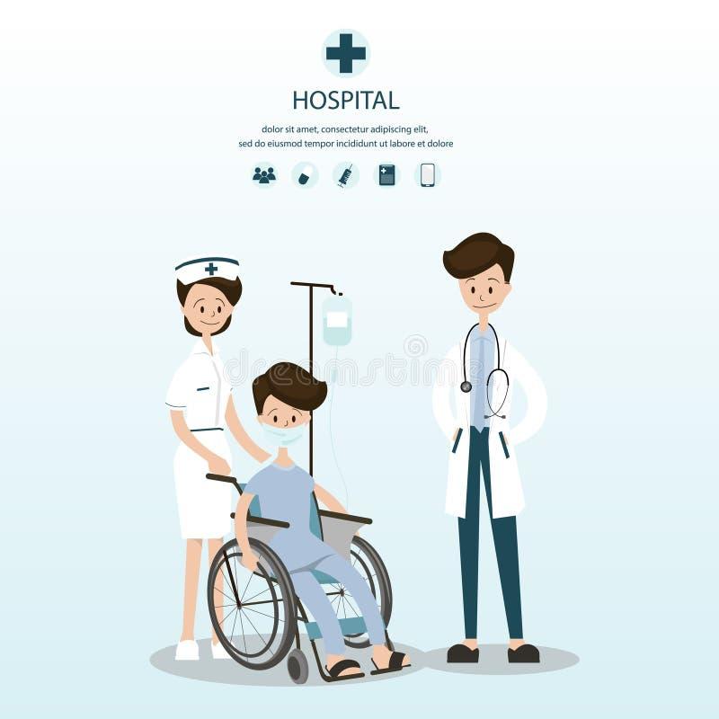 Medisch team om mannelijke patiënten op rolstoelen bij te staan vector illustratie