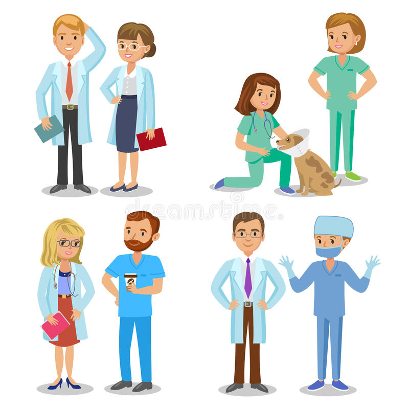 Medisch team Reeks van het ziekenhuis medisch personeel Artsen, verpleegsters vector illustratie