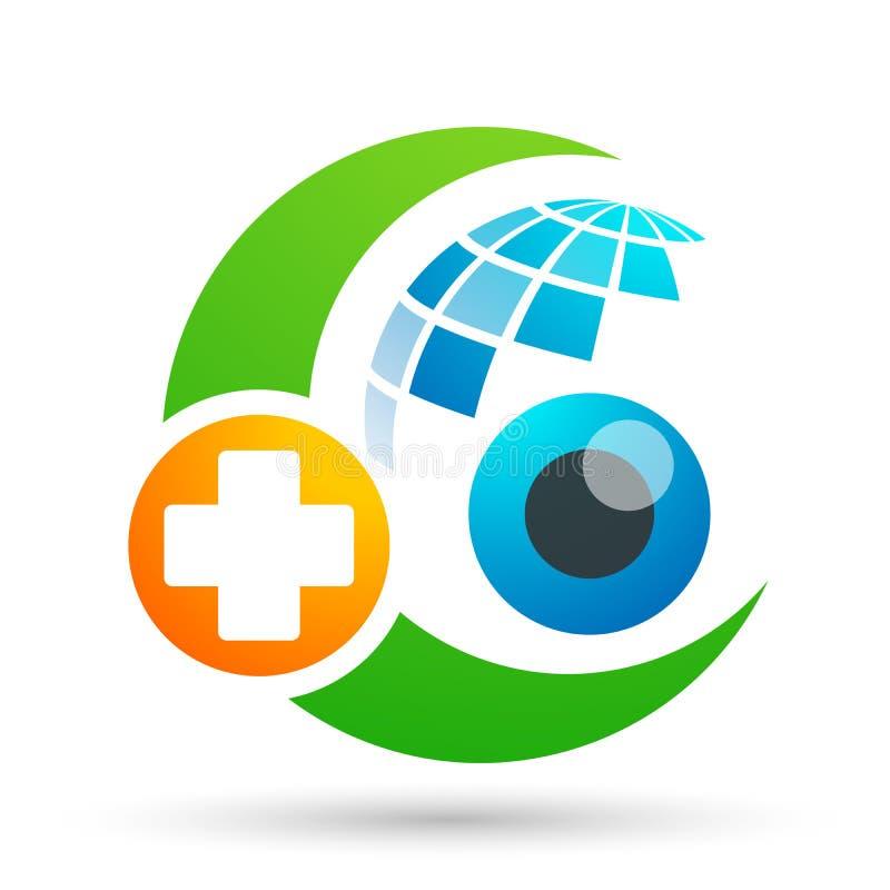 Medisch van de de bolfamilie van de oogzorg van het de gezondheidsconcept van het het embleempictogram het elemententeken op witt stock illustratie