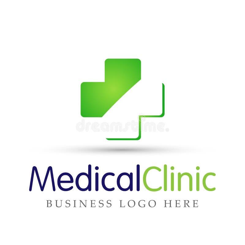Medisch van de de mensenfamilie van de gezondheidszorg dwarskliniek van het de gezondheidszorgembleem medisch het ontwerppictogra stock illustratie