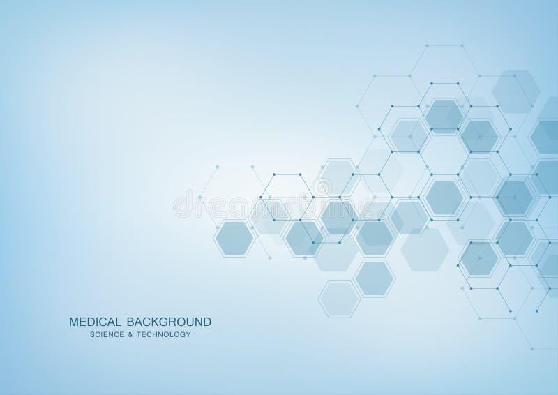 Medisch vectorontwerp als achtergrond of wetenschaps Moleculaire structuur en chemische samenstellingen Geometrisch en veelhoekig stock illustratie