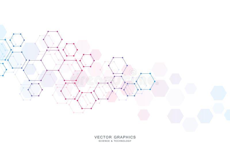 Medisch vectorontwerp als achtergrond of wetenschaps Moleculaire structuur en chemische samenstellingen Geometrisch en veelhoekig vector illustratie