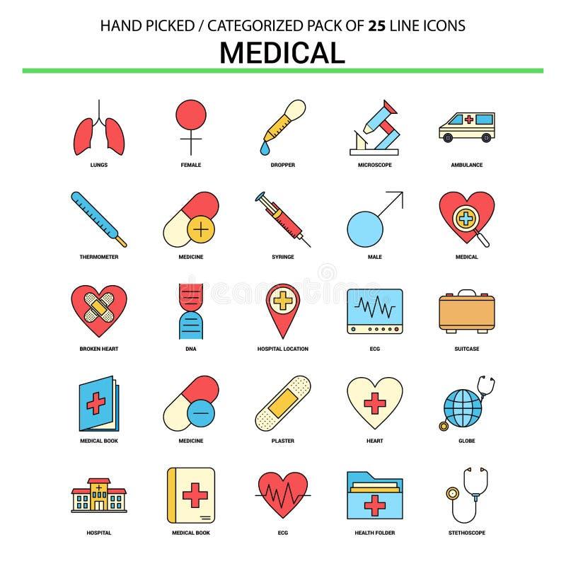 Medisch Vlak Geplaatst Lijnpictogram - het Ontwerp van Bedrijfsconceptenpictogrammen stock illustratie