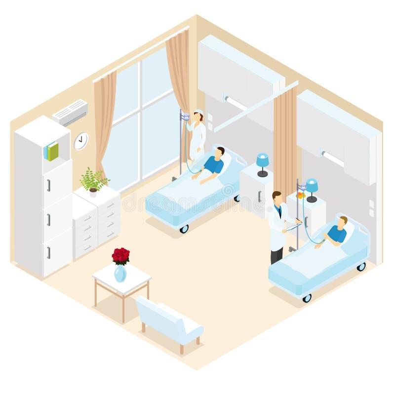 Medisch Ward Isometric Template stock illustratie