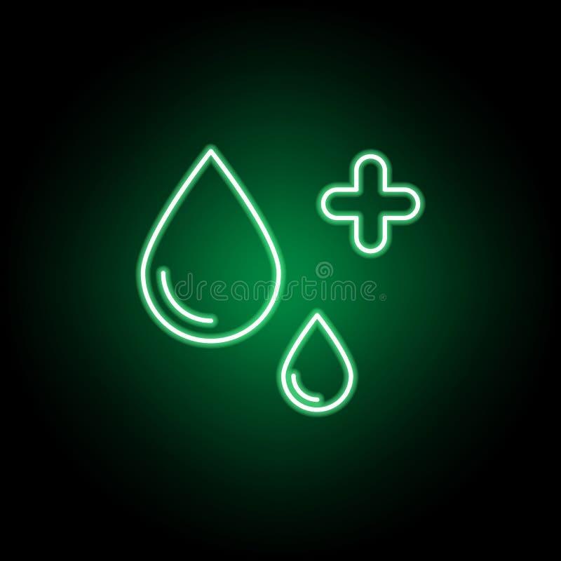 Medisch, waterpictogram in neonstijl Element van geneeskundeillustratie Tekens en symbolen het pictogram kan voor Web, embleem, m royalty-vrije illustratie