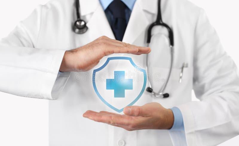 Medisch ziektekostenverzekeringconcept, dwarssymbool stock afbeelding