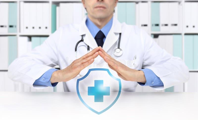 Medisch ziektekostenverzekeringconcept, dwarssymbool stock foto