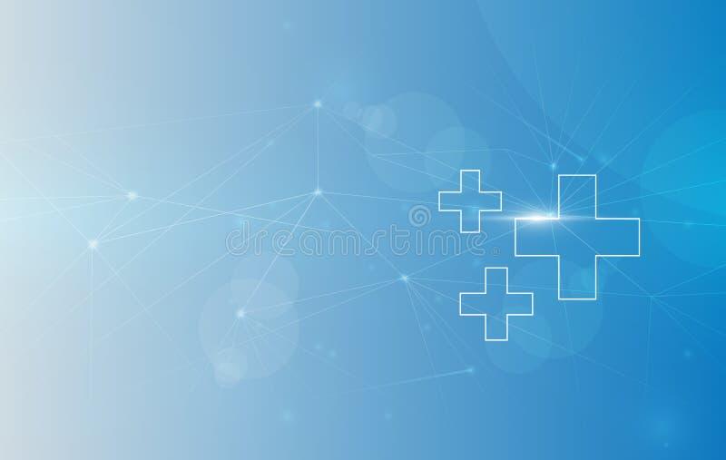Medische Achtergrond, Globale Connectiviteit Geschikt voor Gezondheidszorg en Medisch Onderwerp Vector illustratie royalty-vrije illustratie