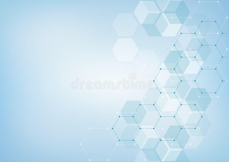 Medische achtergrond van zeshoeken Geometrische elementen van ontwerp voor moderne mededelingen, geneeskunde, wetenschap en digit stock illustratie