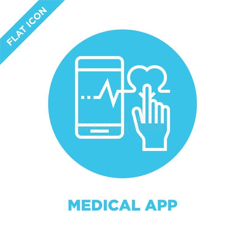 medische app pictogramvector van gezonde het levensinzameling De dunne lijn medische app vectorillustratie van het overzichtspict stock illustratie