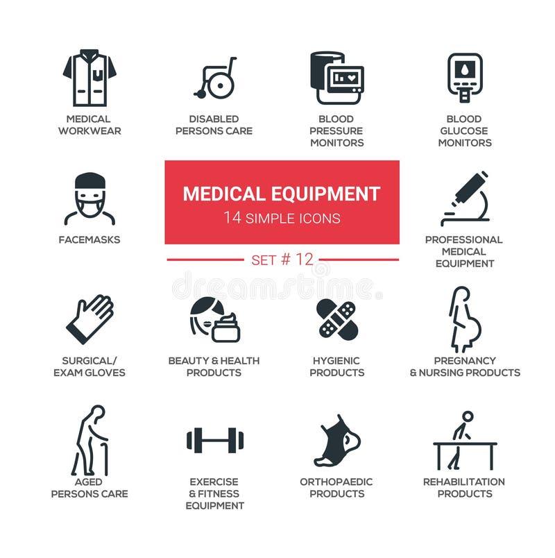 Medische apparatuur - de Moderne eenvoudige dunne pictogrammen van het lijnontwerp, geplaatste pictogrammen vector illustratie