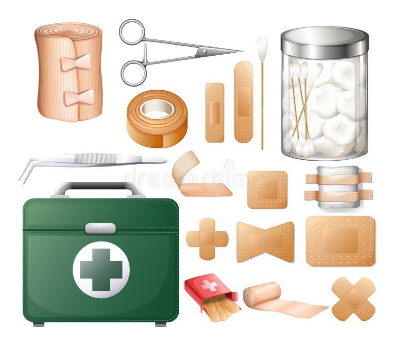 Medische apparatuur in eerste hulpdoos vector illustratie