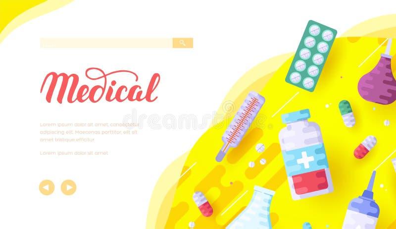 Medische apparatuur en apotheek: pillen, klysma, flesje stock illustratie