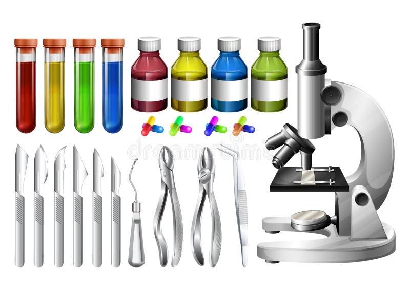 Medische apparatuur en containers vector illustratie