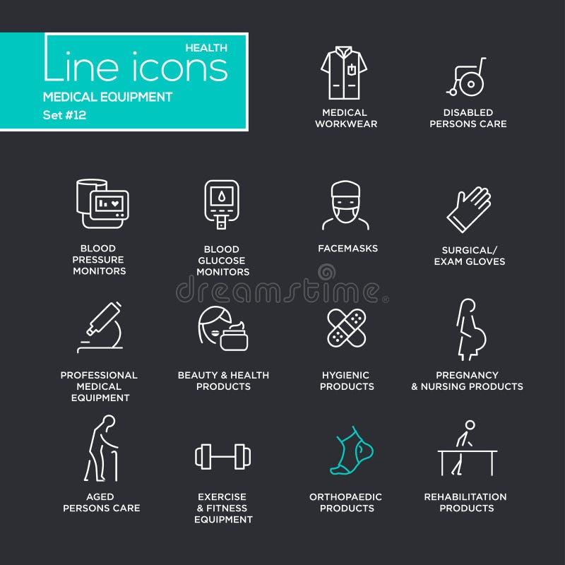 Medische apparatuur - geplaatste de pictogrammen van het lijnontwerp stock illustratie