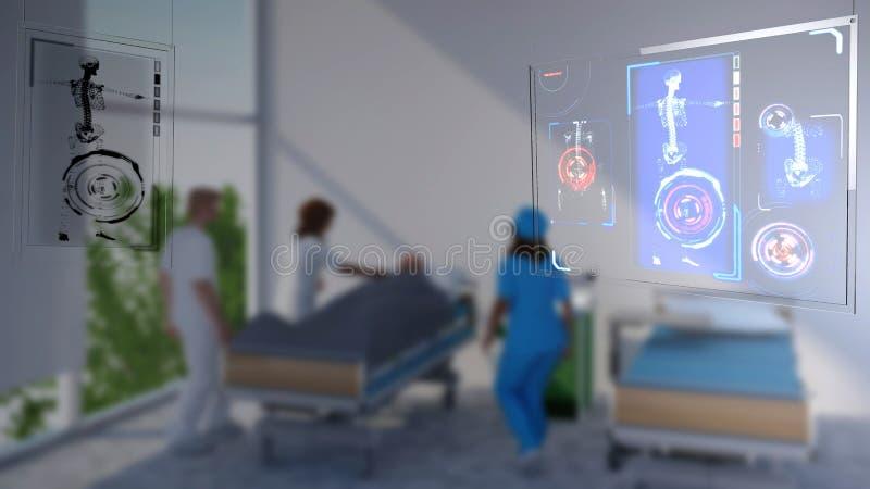 Medische apparatuur, het ziekenhuis, algemeen medisch onderzoek, anatomisch aftasten, toekomstige geneeskunde, stock illustratie
