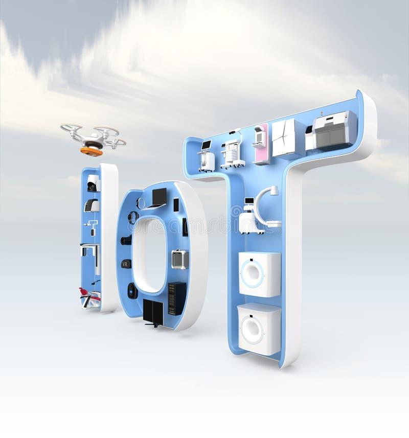 Medische apparatuur in IoT-woord royalty-vrije illustratie