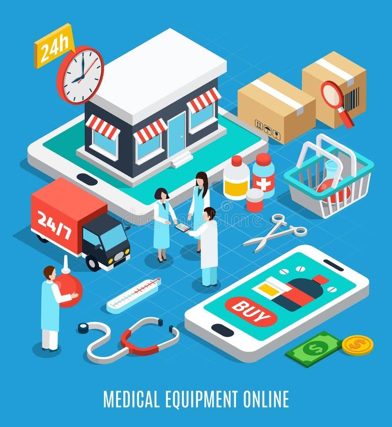 Medische apparatuur Isometrisch Concept stock illustratie